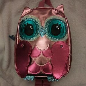 Claire's mini backpack metallic pink owl